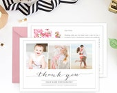 SALE Thank You Card Template for Portrait Photographers, Photography Marketing Template, Thank You Notes, Many Thanks - TY101D
