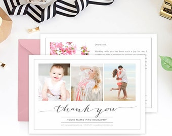 Thank You Card Template for Portrait Photographers, Photography Marketing Template, Thank You Notes, Many Thanks - TY101D