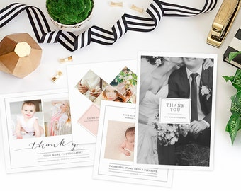 Thank You Card Templates for Photographers, Photography Marketing Template, Thank You Notes, Many Thanks - TY101