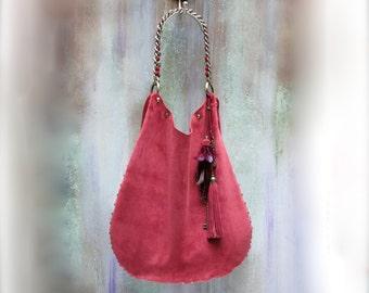 LEATHER HOBO BAG, red suede boho bag, large  tote bag