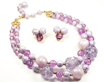 Vintage Lucite Chunky Necklace Earrings Lavender Lilac Purple