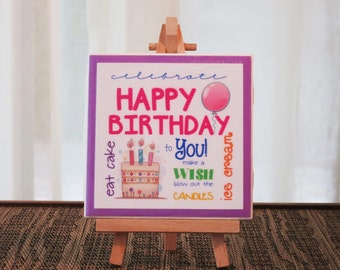 Happy Birthday Subway Art Ceramic Tile Sign with Easel