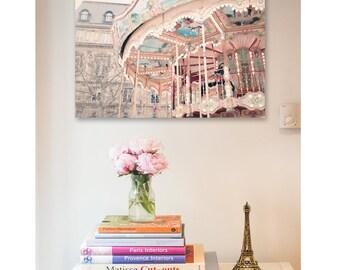 Paris nursery decor, Paris print, Paris wall art, Large art print, Wall decor, Carousel photography, Merry-go-round print, Carousel canvas
