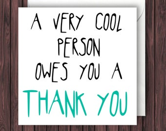 Funny thank you card | Etsy