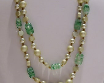 Beaded Green Glass and Pearl Two Strand Necklace