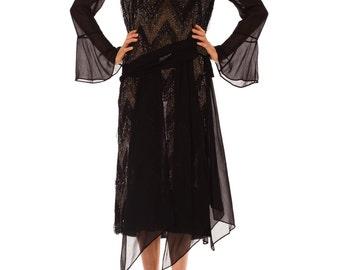1920s Vintage Dazzling Silk Chiffon Dress  Size: M/L