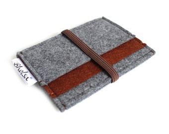 Card Organizer/ Card Wallet/ Felt Wallet/ Small Wallet/ Card Wallet Organizer- Charcoal Grey & Brown Color felt