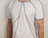 Unique post apocalyptic white and black short sleeve shirt