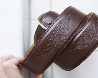 Brown eagle leather belt