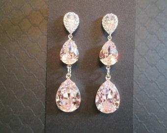 Large Double Drop Swarovski Crystal Earrings/Rosaline Bridesmaid Jewelry/Pale Pink Swarovski Earrings/Bridesmaid Gift/Pink Crystal Earrings