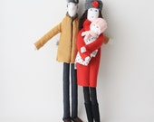 Personalized family dolls, likeness fabric dolls, portrait dolls, look alike cloth dolls, unique wedding parents couple anniversary gift