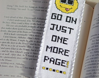 Cross Stitch Bookmark Pattern: One More Page (Immediate Downloadable PDF)