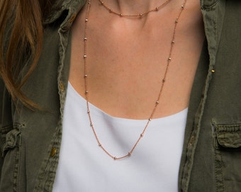 Dainty rose gold necklace. Everyday simple neclace. Rose gold vermeil delicate necklace