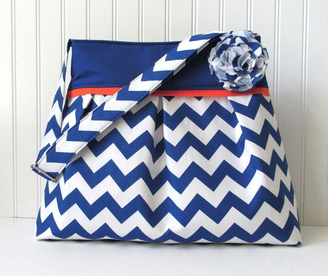 Chevron Diaper Bag in Royal Blue and Orange or Choose Your Own