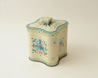 Vintage Starbursts Tin with Lid Blue Pink