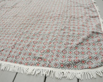 Mid Century 1960s Tablecloth Gray Red Geometric