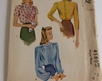 Antique McCall Pattern 4580 Misses Back Button Blouse Size 12