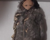 Vintage Inuit Indian Eskimo doll from the 1930s leather face, some beads, old and worn folk art
