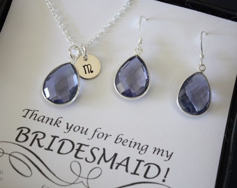 2 Bridesmaid Necklace and Earring Sets Navy Purple Quartz, Bridesmaid Gift, Translucent Purple Blue, Sterling Silver, Monogram, Teardrop