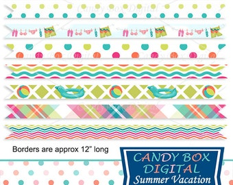Summer Ribbon Border Clipart Beach Vacation Clip Art