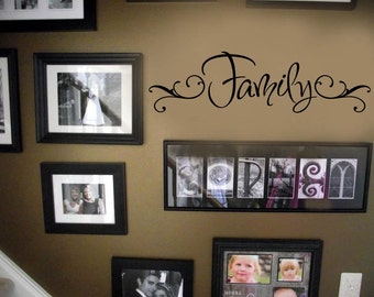 Family removable VInyl Wall Lettering Decal Large Size Options Decals