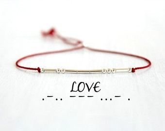 Minimalist Dainty Red Silk Cord Friendship Bracelet Sterling Silver Love Morse Code Beaded Bracelet Boho Chic Jewelry Valentines Gift