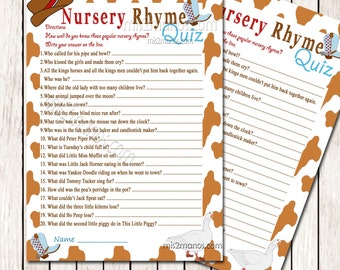Nursery Rhyme Quiz Game Western Baby Shower Printable Baby Shower Game  Instant Download