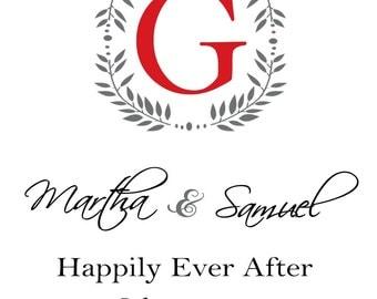 Wedding Wine Labels Wedding, Custom Monogrammed  Wine Labels, Wine Wedding favor, Anniversary labels -Set of 6 Print at Home