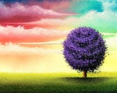 Purple Tree Art Print, Summer Tree Painting, Contemporary Landscape Painting, Rainbow Sky, Miniature 5x7 Print of Original Oil Painting