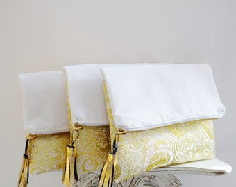 Gold and White Wedding Clutch / Bridesmaids clutches / Bride clutch / Wedding clutch / Clutch