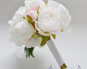 Small White Peony Bouquet - Peony Bouquet in Cream, White, Peonies, Silk Bouquet, Wedding Bouquet, Bridesmaid Bouquet