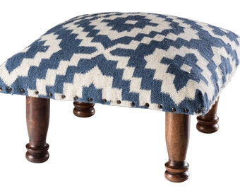 Fair Trade Footstool - Blue and White Cotton and Wool Patterned Kilim and Mango Wood Footstool, Stool