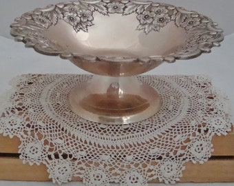 Vintage Footed Embossed Silver Candy Dish