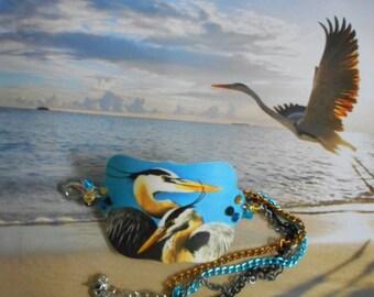 great blue heron shorebird crystal cuff charm bracelet
