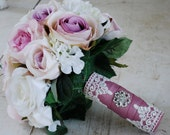 SALE, Silk bridal bouquet, lavender roses, cream roses, white geraniums