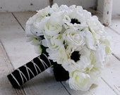 Silk bridal bouquet white roses, black and white anenomes, ranunculus, matching boutonniere