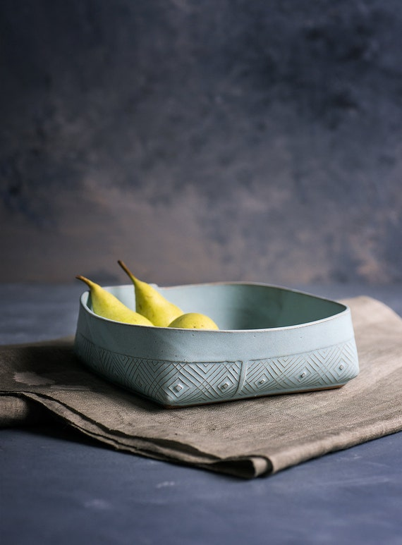 Ceramic Serving Bowl , Fruit Bowl , light blue Bowl , Geometric Pattern salad Bowl