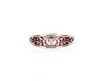 Rose gold heart filigree ring with diamond, diamond engagement ring, rose gold wedding, anniversary band, unique, diamond ring, filigree