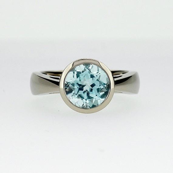 Aquamarine ring engagement ring bezel white gold simple