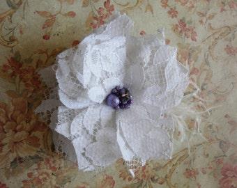 Bridal Lace Hair Flower, White Bridal Hair Accessory, Wedding Hair Accessory, Lace Wedding Flower, Wedding Hair Piece
