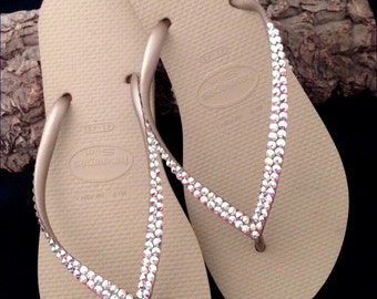 Havaianas Slim Flip Flops Ivory Sand Gray Golden Metallic Beige Tan w/ Swarovski Iridescen Crystal AB Rhinestones Beach Bride Wedding Shoes