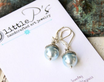 Blue Pearl Elements Earrings, Swarovski Pearl Elements, Gift for Her, Bridesmaid gift, Wedding Day