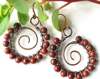 Beaded hoop earrings - brick red jasper gemstones, copper wire wrapped spirals