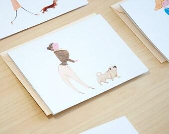 Pug Dog Walker Set of 5 Cards