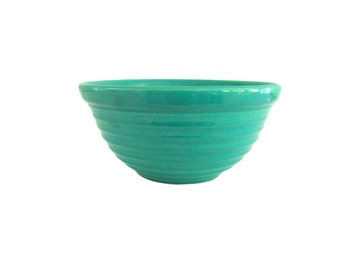 "Turquoise Blue/Green Bauer Ringware Mixing Bowl, 9 1/2"" diam, marked 12"