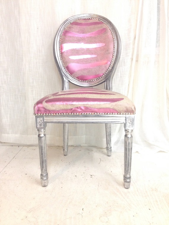 Items similar to pink zebra print cowhide french louis for Printed upholstered dining chairs