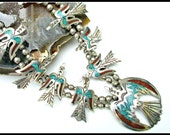 Navajo Peyote Sterling Squash Blossom Necklace turquoise coral mossaic inlay signed HC Herman Coan