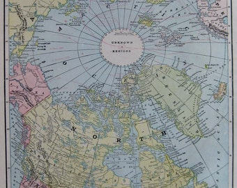 Antique North Pole Map POLAR Regions Map ARCTIC Discoveries  1899 Travel Gallery Wall Art Home Decor  Plaindealing 5989