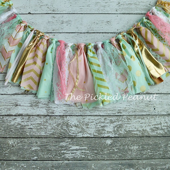 Pink Mint And Gold Nursery: Pink Mint Gold Birthday Banner Pink Mint Gold Nursery Banner