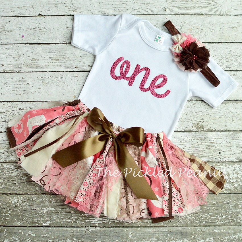 Cowgirl pink brown one 1st first birthday outfit shabby chic - Shabby chic outfit ideas ...